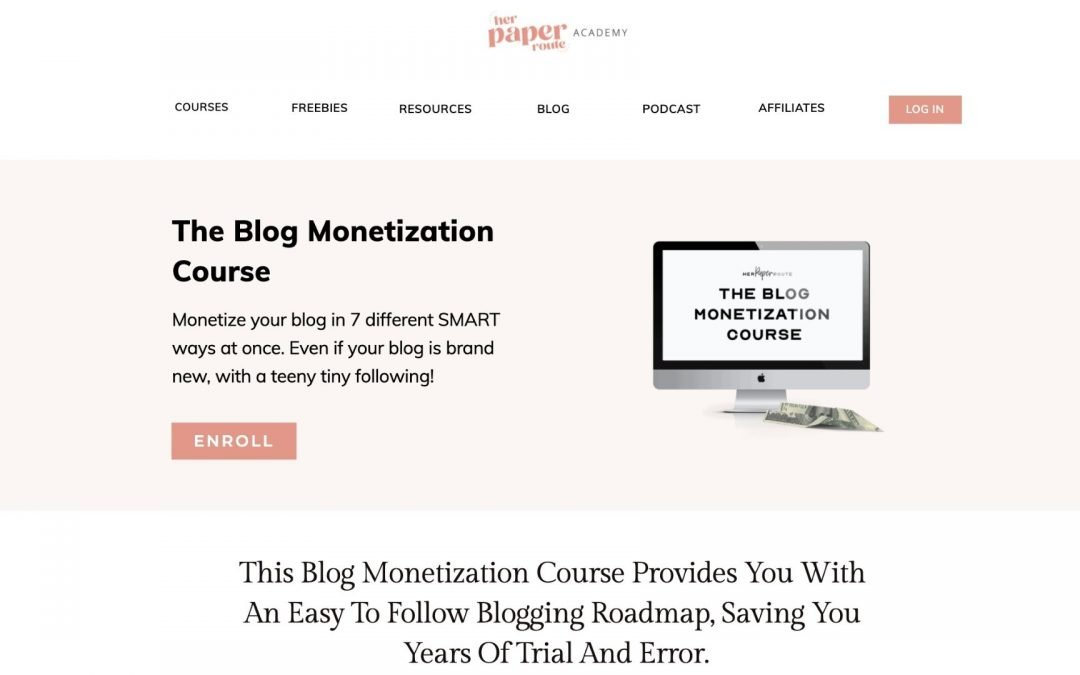 The Blog Monetization Course by HerPaperRoute
