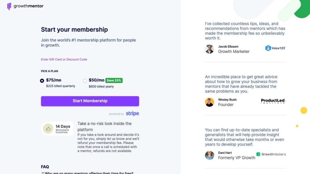Growthmentor review pricing